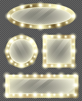 Makeup mirrors in gold frame with light bulbs