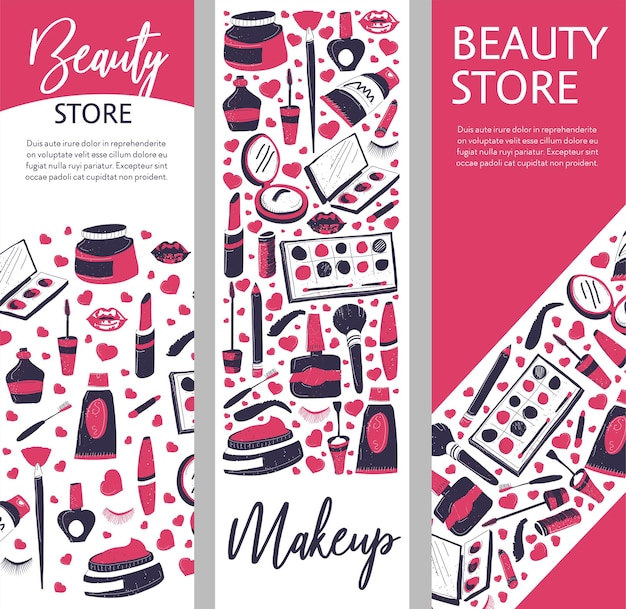 Makeup products and cosmetics for ladies, shop or store with powders and palettes, mascara and nail polishes