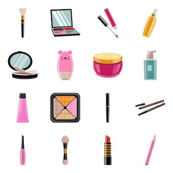 メイクプロフェッショナル製品ベクトル漫画アイコンセット。ベクトル分離イラストブラシ、アイシャドウ、口紅、その他の化粧品。ベークアップのアイコンセット。