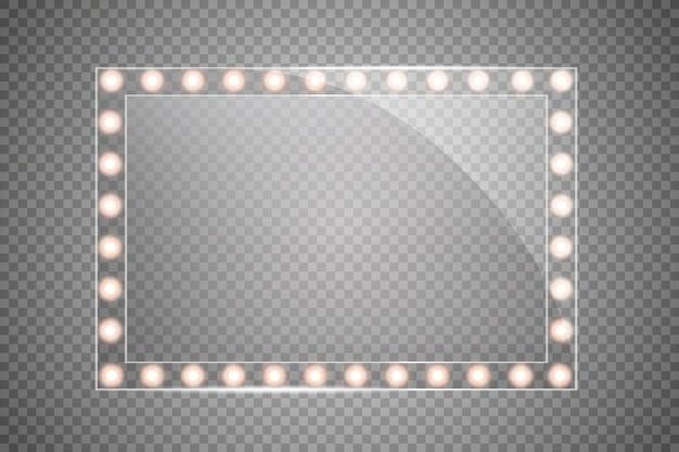 Makeup rectangular mirror with lights