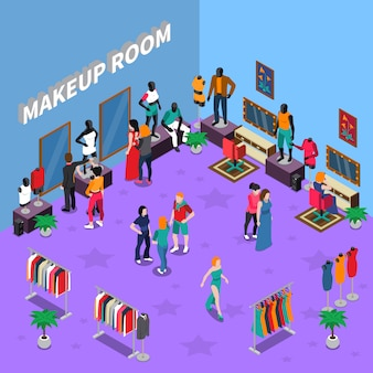 Makeup room with mannequins isometric illustration