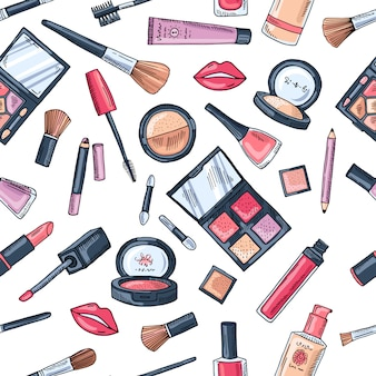 Makeup seamless pattern. illustrations of different cosmetics. lipstick and pomade glamour vector background