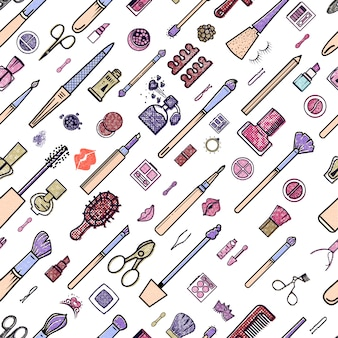 Makeup seamless pattern.