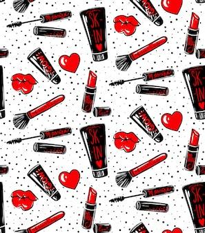 Makeup seamless pattern.