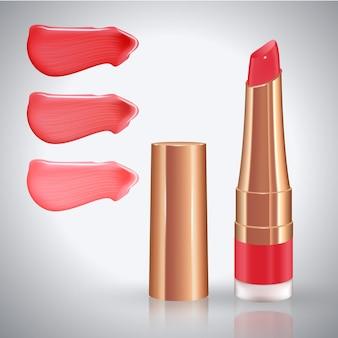 다양한 색상의 사실적인 크림 얼룩이있는 입술 용 메이크업 세트