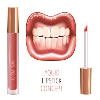 현실적인 광택 빛나는 웃는 입술과 액체 립스틱으로 입술을위한 메이크업 세트