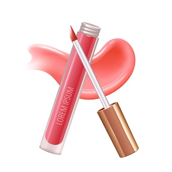 Makeup set for lips with realistic creme smear