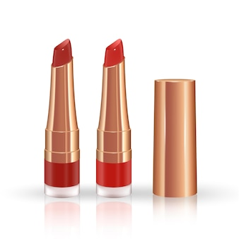 Makeup set for lips with realistic liquid lipstick container