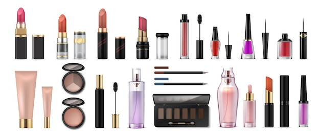 Makeup set realistic cosmetic products glossy lipsticks pencils shadows highlighters and artist