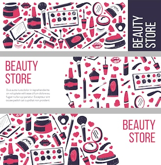 Makeup store, salon or shop selling cosmetic production for ladies
