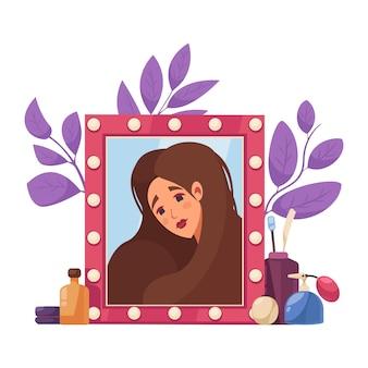 Стилист по макияжу с косметическими продуктами и символами красоты