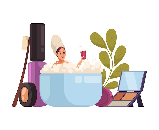 Makeup stylist with cosmetic products and beauty symbols illustration