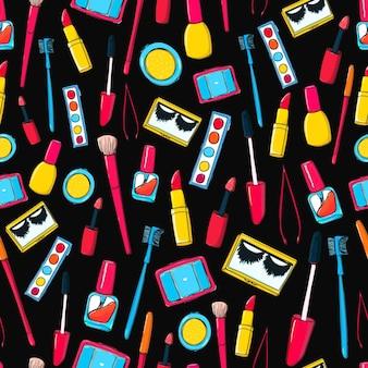 メイクツールとボトルのシームレスなパターンマスカラつけまつげの口紅の背景