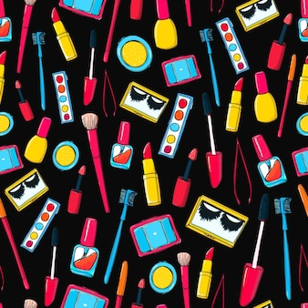 Makeup tools and bottles seamless pattern background with mascara false lashes lipstick