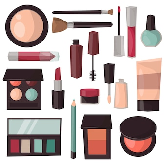 Makeup tools isolated vector illustration.