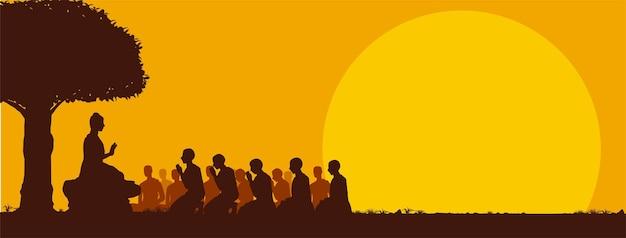День маха буча, будда излагает свои учения незадолго до своей смерти монахи, иллюстрация