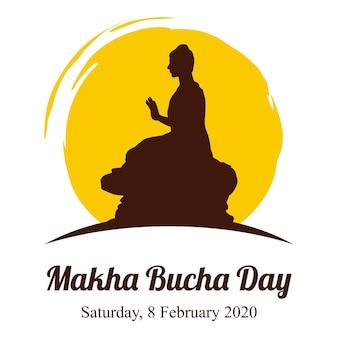День маха буча, будда передает свои учения незадолго до смерти 1250 монахам. Premium векторы