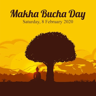 Makha bucha day, silhouette of buddha sitting under the bodhi tree (sacred fig)