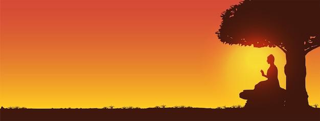 Makha bucha day, silhouette and sunset