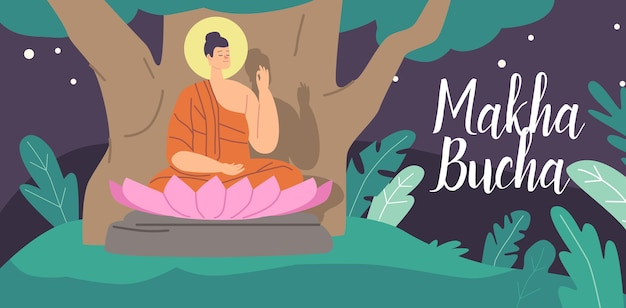 Makha bucha greeting card. buddha character sitting under bodhi tree in pink lotus flower at night. religious concept of nirvana and buddhism teaching or worship. cartoon people vector illustration
