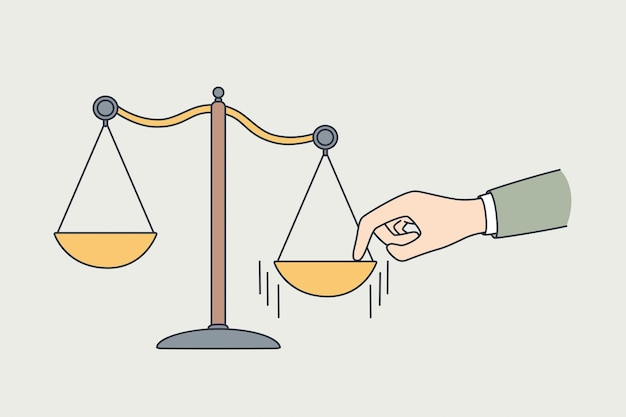 Making choice, measuring values concept. human hand putting finger to one side on scales making decision and choice vector illustration