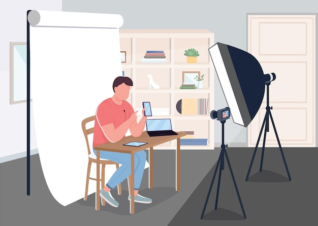 Making devices review flat  illustration filming videos for online video blog blogger with big amount of fans content creating d cartoon characters with studio on background Premium Vector