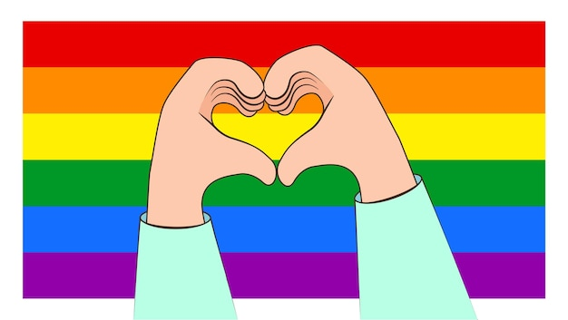 Making heart with hands  on a lgbt rainbow flag background. concept of lgbt pride