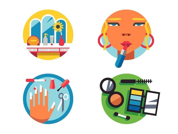 Изготовление значков для макияжа. маникюр и помада. косметика для женщин. векторная иллюстрация