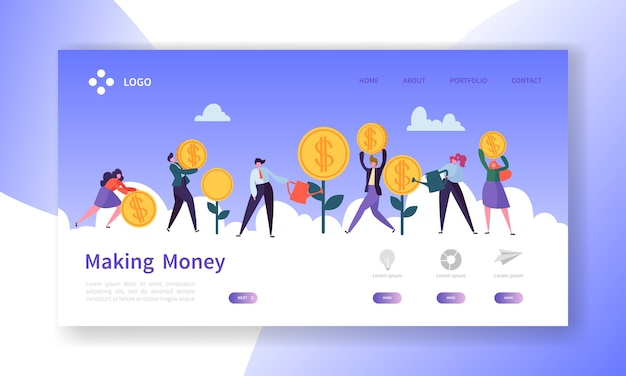 돈을 버는 방문 페이지. 돈 웹 사이트 템플릿을 저장하는 사람들이 문자로 사업 투자 배너.