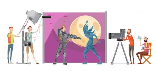 Создание фильма с актерами в костюмах на космическом фоне, режиссер с техническим персоналом, векторная иллюстрация