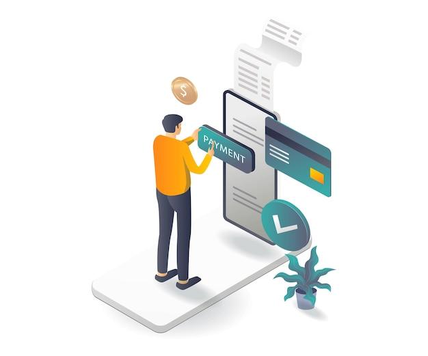 Выполнение платежей онлайн в изометрической иллюстрации
