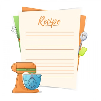 . making the recipe for cooking. kitchen mixer and kitchen tools for the design