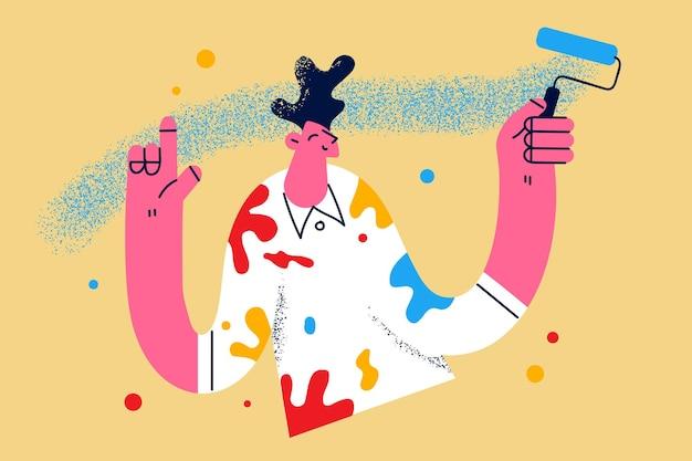 リノベーションと壁のコンセプトを着色します。若い笑顔の男の漫画のキャラクターが手に青い色のペイントブラシローラーを持って立っている感じポジティブベクトルイラスト