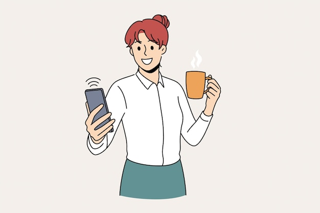 셀카 및 기술 개념 만들기. 카메라 벡터 일러스트 레이 션에 셀카를 만드는 컵 오 뜨거운 음료를 들고 서 젊은 웃는 여자 회사원 만화 캐릭터