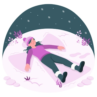 Making a snow angelconcept illustration