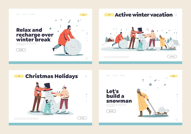 Making snowman concept of set of landing pages with family, parents and kids outdoors having fun