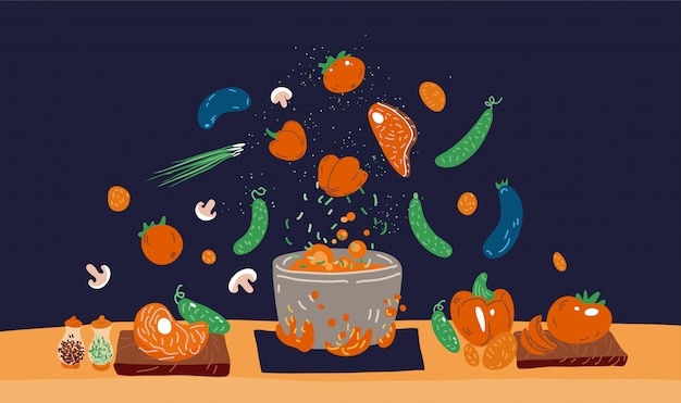 Making soup  concept. pot with bulbing delicious food on a fire and all ingredients around it - vegetables, meat, seasonings and flavoring. professional and home cooking concept