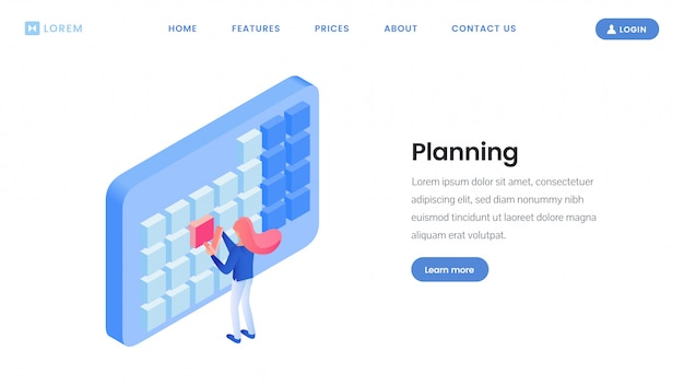 Making timetable landing page isometric template
