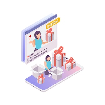 Making video for unboxing blog isometric concept 3d illustration