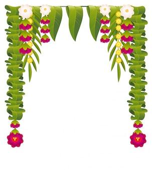 Mala indian flower garland for ugadi holiday. floral mango leaves ornate decoration