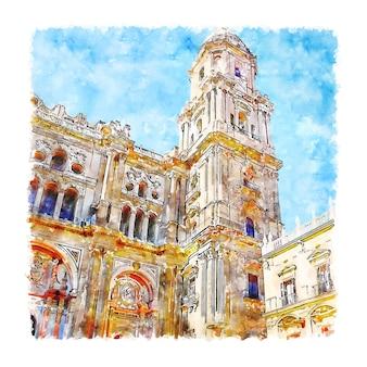 マラガ大聖堂スペイン水彩スケッチ手描きイラスト