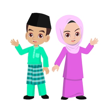 Malay boy and girl in traditional clothes waved