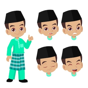 Malay cartoon boy face expression set