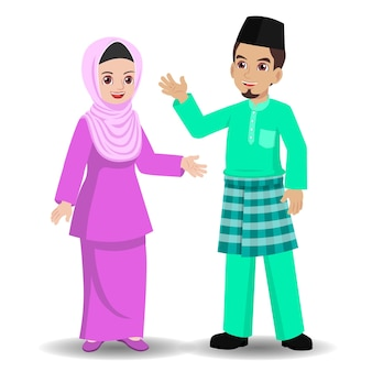 Malay couple standing waved hands