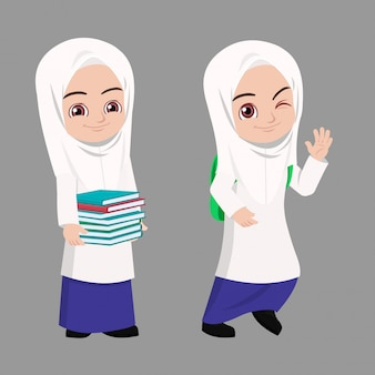 Malay school girl happy carrying books and bag going back to school Premium Vector