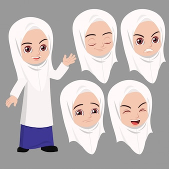 Malay school girl standing and waved with difference face expression