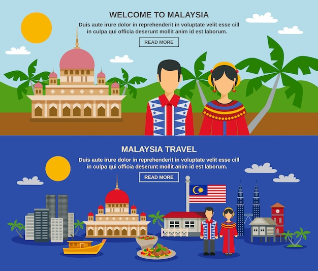 Malaysia culture 2 flat banners webpage design