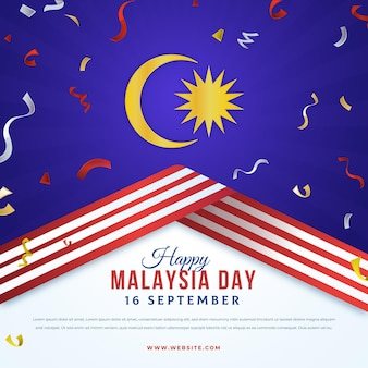 Malaysia day moon and ribbons