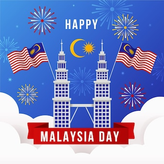 Malaysia day with fireworks
