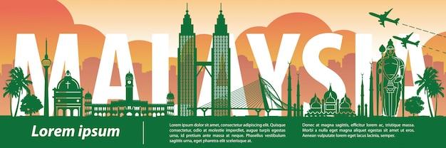 Malaysia famous landmark silhouette style
